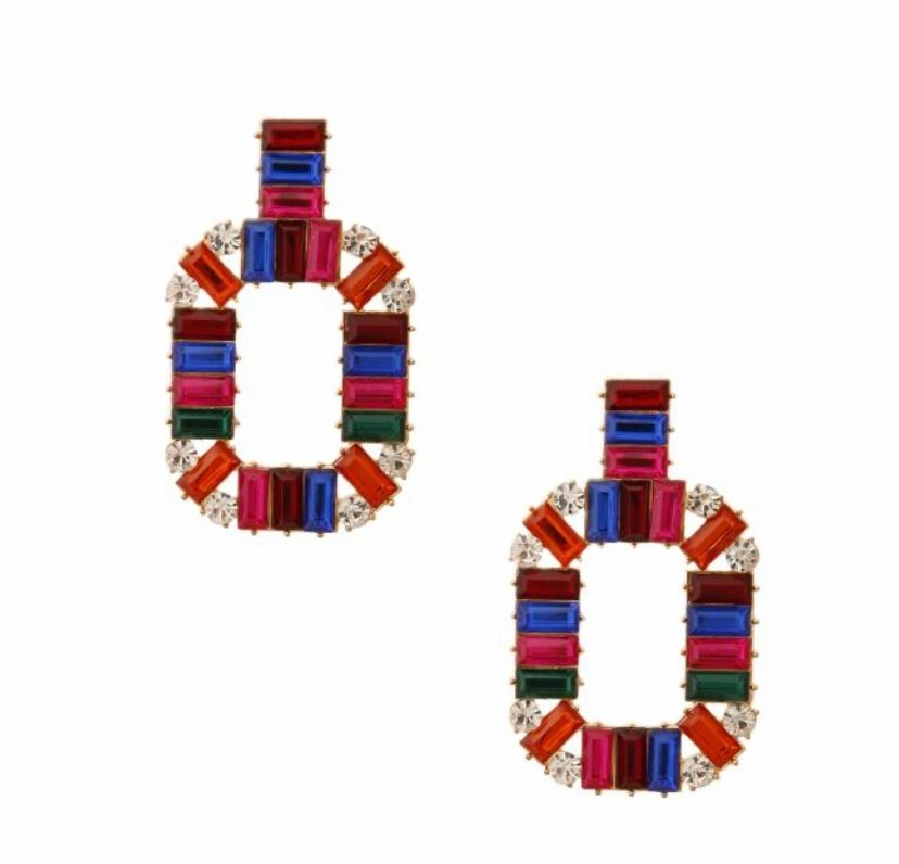 red & blue baquette crystal drop earrings
