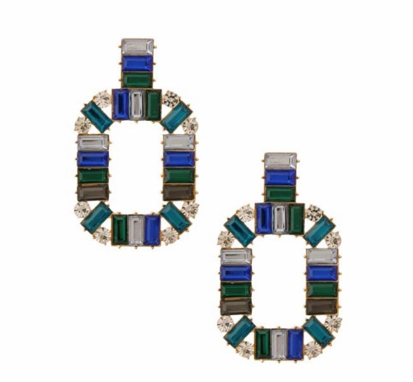 blue & green baquette crystal drop earrings