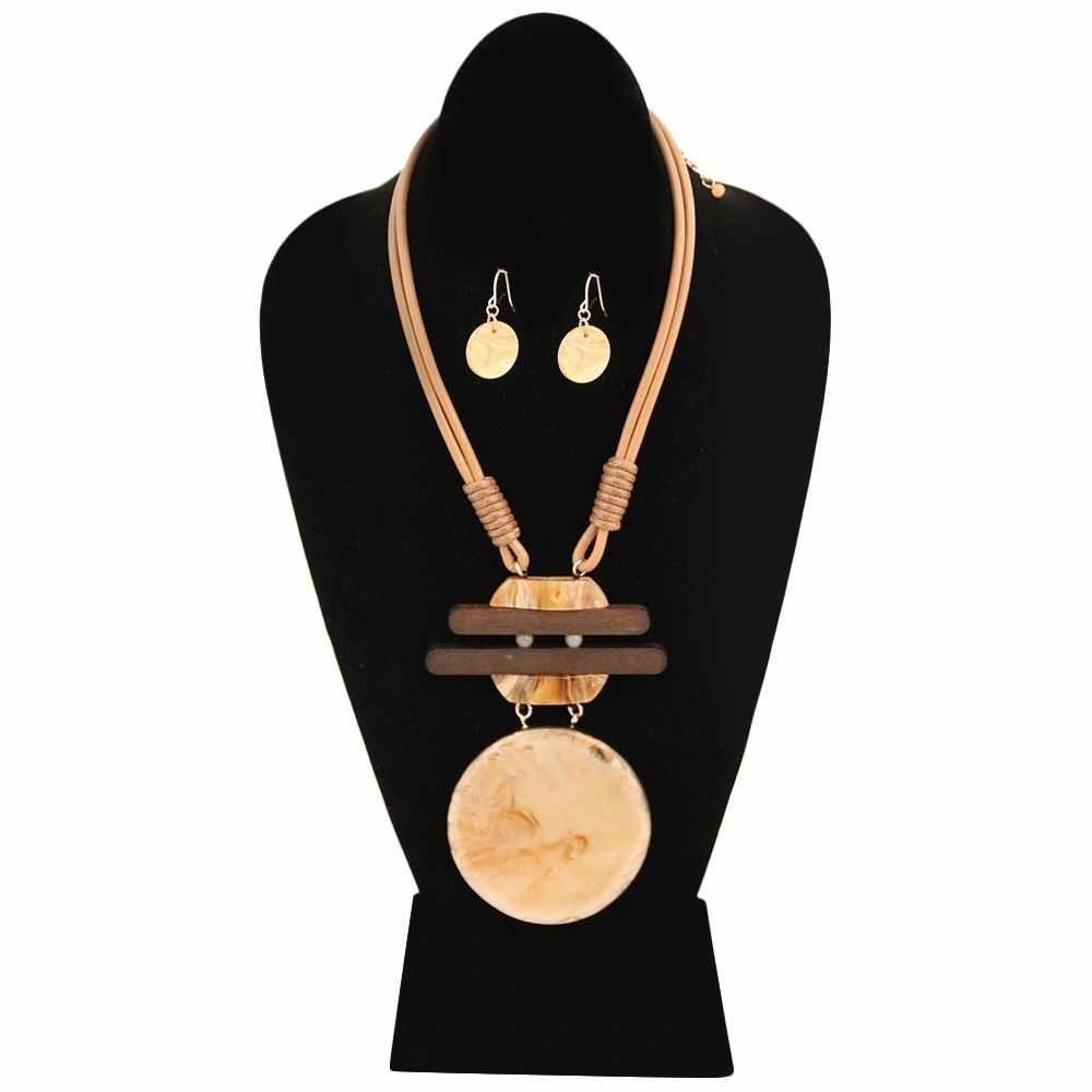 Pendant with Wood Detail and Black Cord Necklace Set