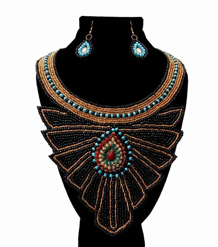 Black and Gold Bead with Layered Jeweled Center Bib Necklace Set