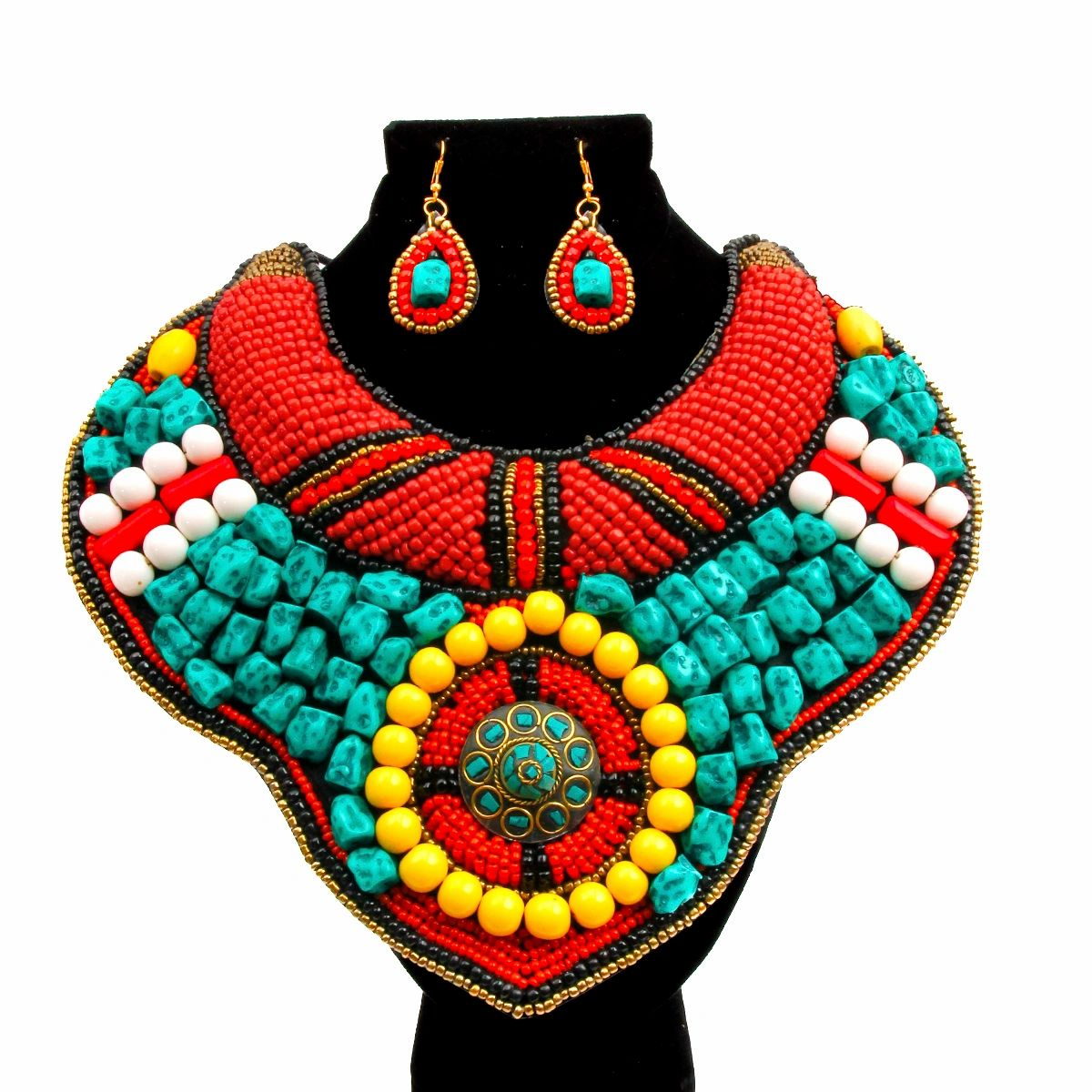 turquoise and colorful stone bead collar bib necklace