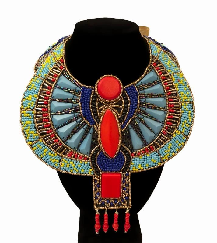 Multi- Colors Hancrafted Bead Egyptian Bib Necklace