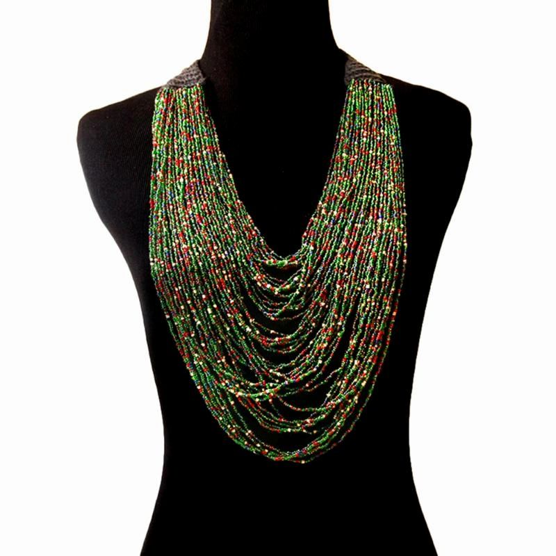 Multi Strand Layered Seed Bead Necklace with Black Crochet Neck. Sits 3 inches wide when worn