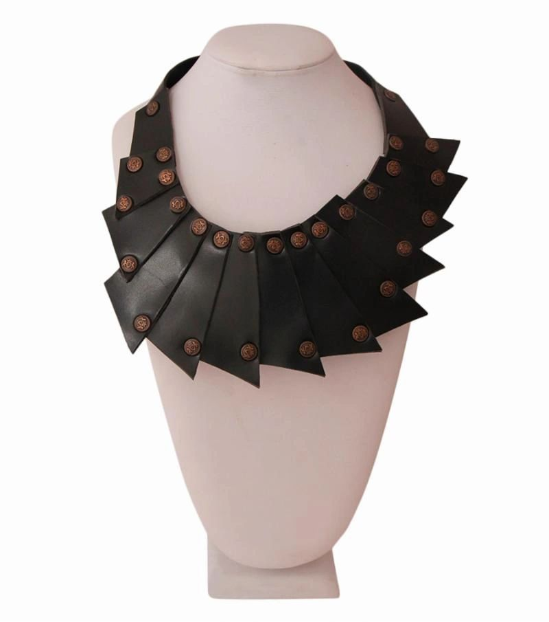 Black Leather Layered Necklace
