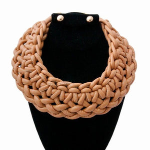 Open image in slideshow, Camel Leather Rope Knotted Collar Necklace Set