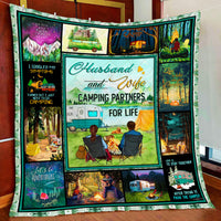 Husband And Wife - Camping Partners For Life Quilt Blanket