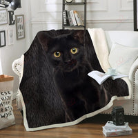 Black Bombay Cat GS-CL-DT1001 Fleece Blanket