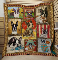 Boston Terrier Dogs Drawing Quilt Blanket