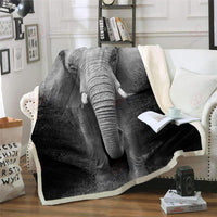 3D Printed Black And White Elephant GS-CL-KC1507 Fleece Blanket