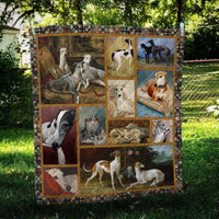 Greyhound Greyhound family Quilt Blanket