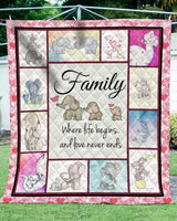 Elephant  Family  Lovely Elephant  Quilt Blanket
