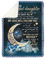 Butterflies Mom To Beautiful Daughter With Love Trending For Family Fleece Blanket