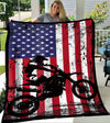Custom Blanket 4th of July Dirt Bike American Flag Blanket - Fleece Blanket