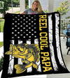 Custom Blanket Fishing Reel Cool Papa American Flag Blanket - Gift for Dad - Fleece Blanket