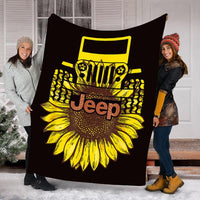 Custom Blanket Jeep Sunflower Blanket- Perfect Gift For Men Women - Fleece Blanket