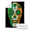 Customs Blanket Day Of The Dead Irish Sugar Skull St Patricks Day Blanket - Fleece Blanket