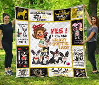 Boston Terrier Crazy Bostie Lady Quilt Blanket