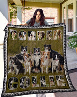 Border Collie Dogs They Are Friends Quilt Blanket , Quilt Bed Set
