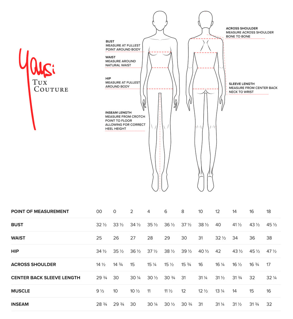 Tux Couture Size Chart