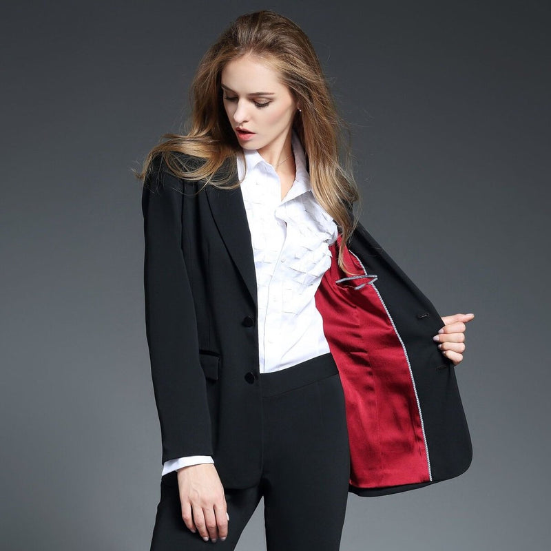 Emma Peak Lapel Jacket with Red Silk Lining in Black