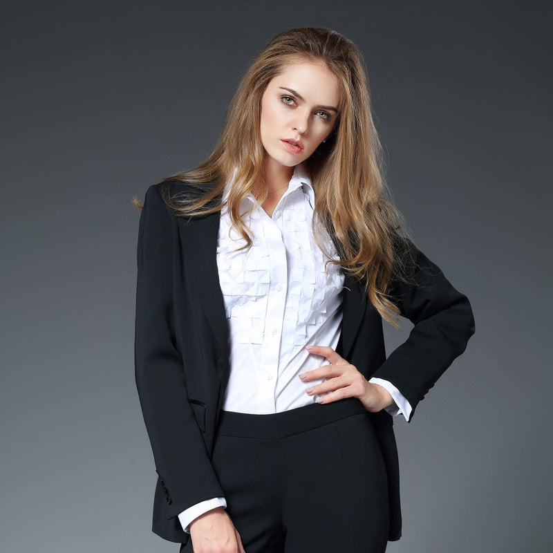 Emma Peak Lapel Jacket with Matte Stretch Lining in Black
