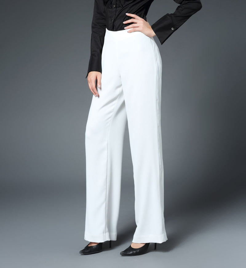 Hannah Straight Leg Pant with Tux Stripe in White