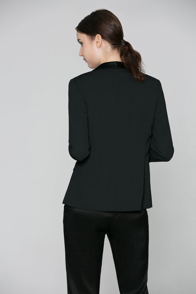 Illana Shawl Collar Jacket with Matte Stretch Lining in Black (back view)