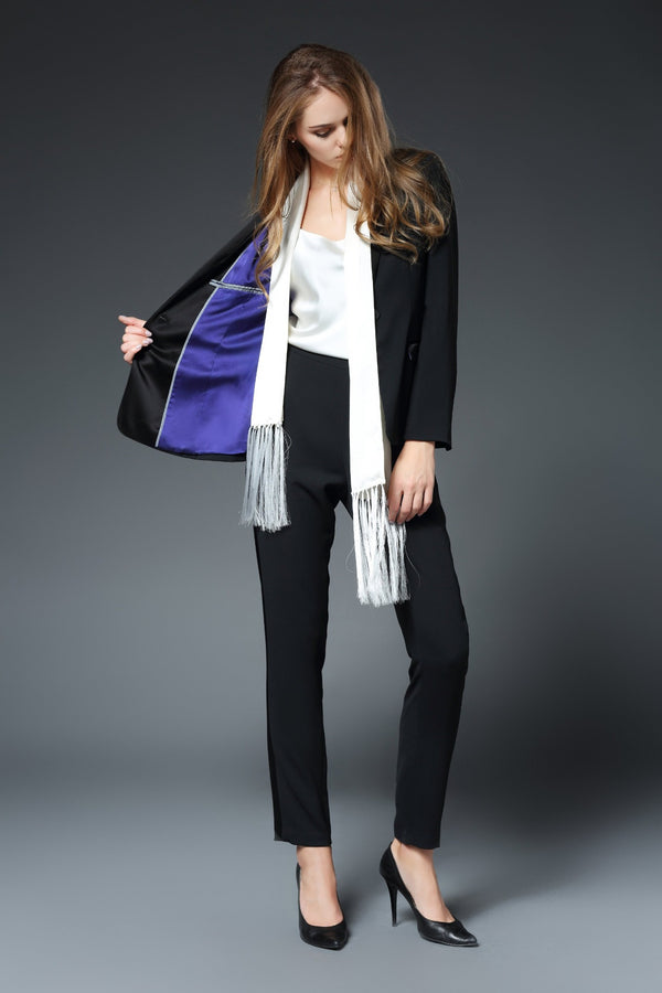 Illana Shawl Collar Jacket with Matte Stretch Lining in Black