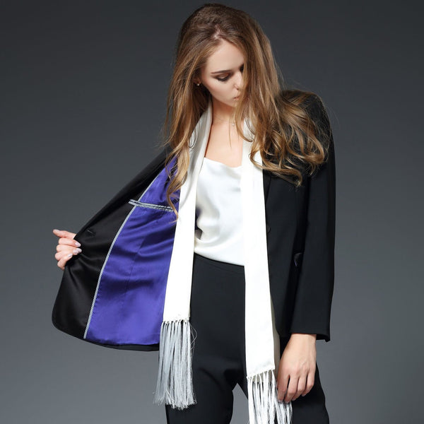 Illana Shawl Collar Jacket with Stretch Silk Lining in Black