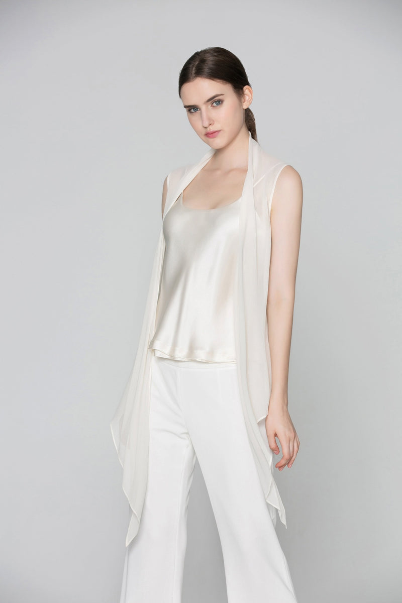 Donna Reversible Bi-Color Camisole in White