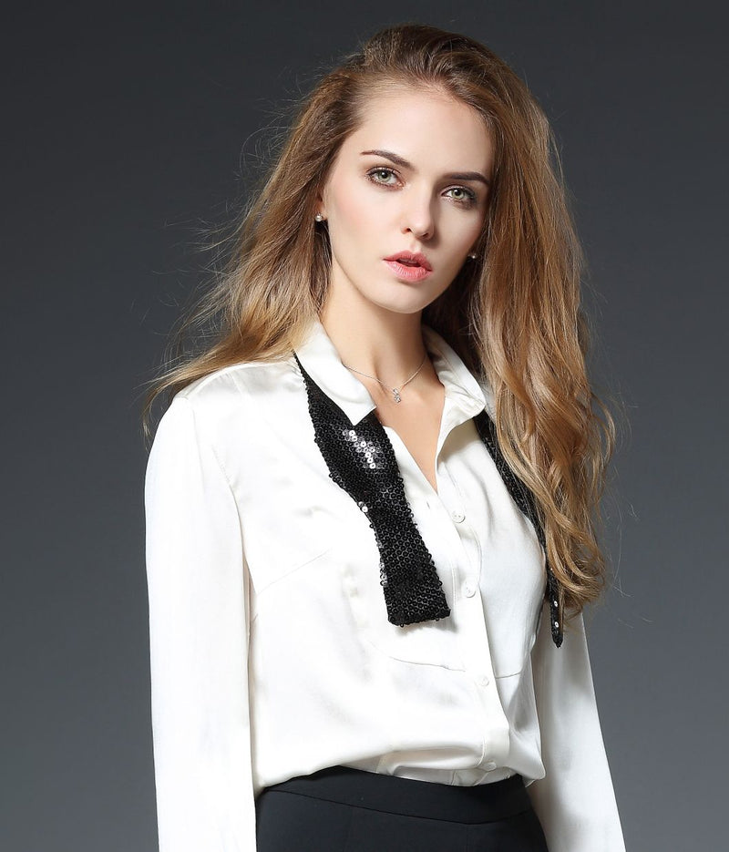 Janan Tux Bib Silk Blouse in White