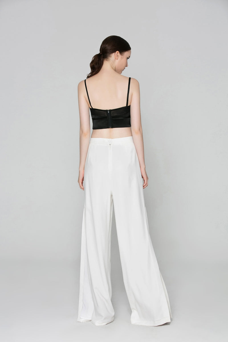 Nadine High Waist Side Slit Pant in White (back view)