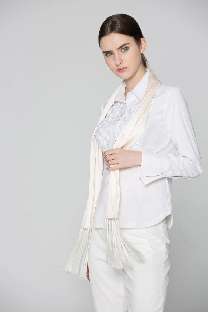 Odelia Double Face Silk Tux Scarf in White