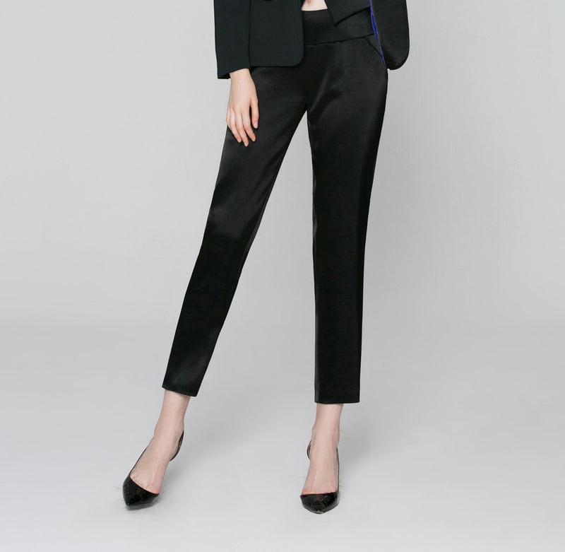 Charlotte Skinny Ankle Pant in Black Satin