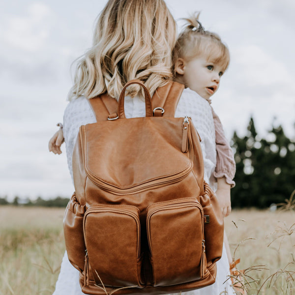 Faux Leather Nappy Backpack- Tan