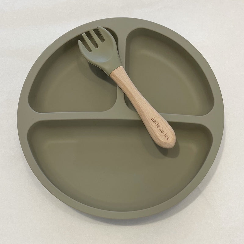 Silicone Suction Divided Plate & Fork- Dusty Sage