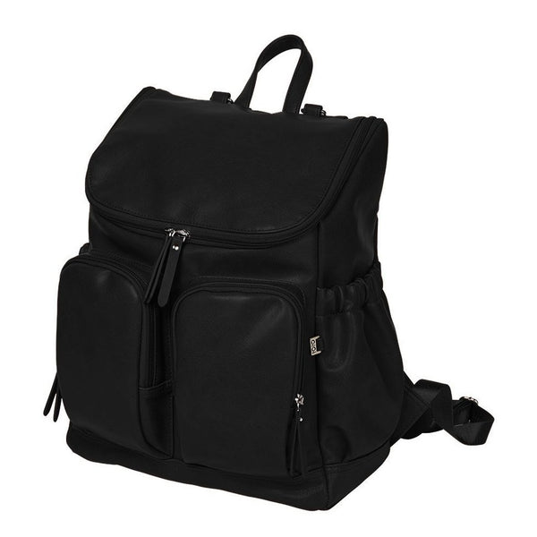 Faux Leather Nappy Backpack- Black