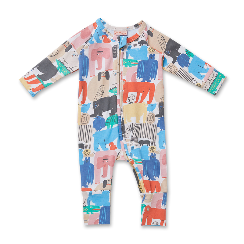 Animal Parade Long Sleeve Zip Suit
