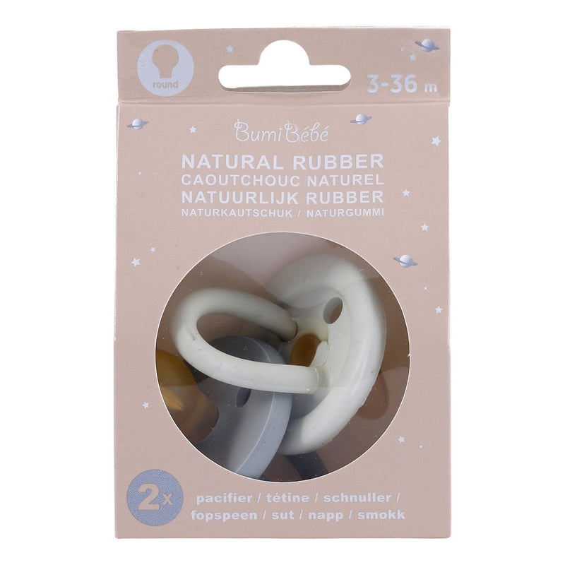 Bumi Bébé Twin Pack Colour Pacifiers- Dove Grey and Sage