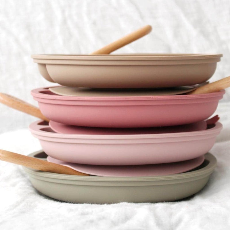 Silicone Suction Divided Plate & Fork- Dusty Pink