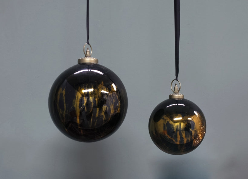 Aged amber & black baubles