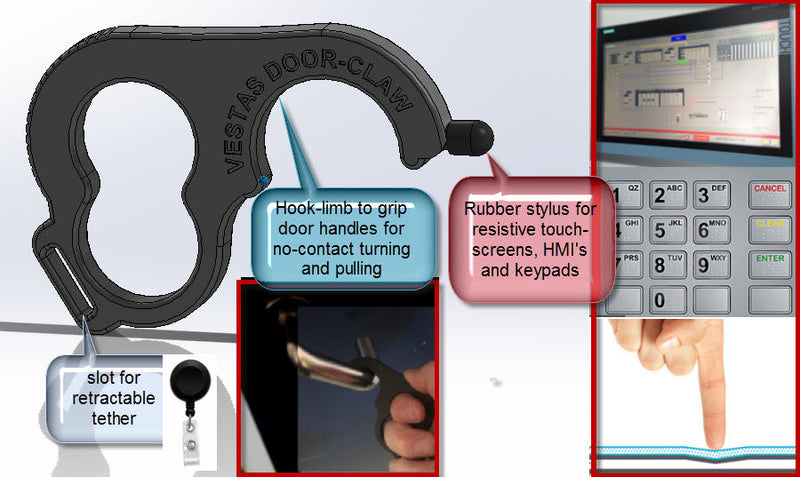 Touchless Door Opener Tool With Tip For Pressing Buttons and Lanyard / Keychain Slot Rubber Stylus Not Included.