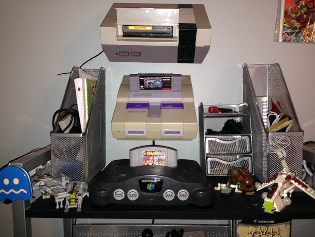 SNES | Nintendo | Mario World | Wall Mount | Organization | Easy Install | Super Nintendo Wall Mount