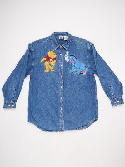 Winnie the Pooh and Eeyore Character Embrodiered Denim Shirt Blue/Yellow/Red Size Large
