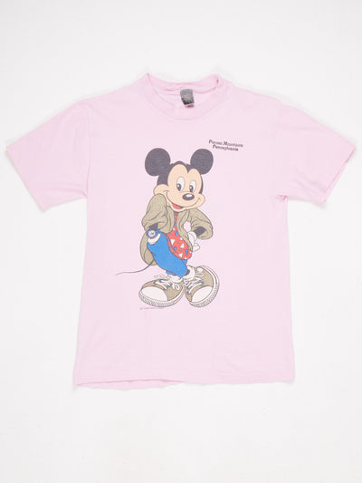 Mickey Mouse Pocono Mountains Character T-Shirt Pink Size Small