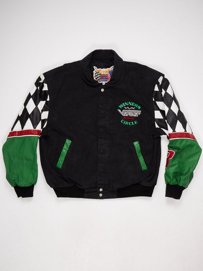 Interstate Batteries Racing Jacket Leather Sleeves with Track Print  Multiple Patched and Embroidered Logo  Black / White / Green / Red Size Large