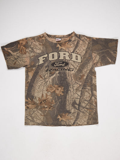 Ford Logo Printed T-Shirt with Real Tree Camo Background  Black / Brown Size Large