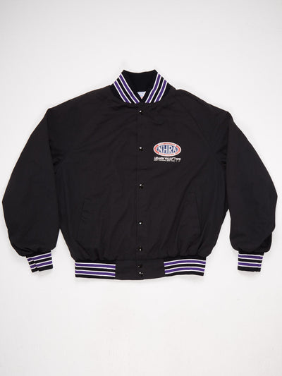 NHRA Drag Racing Cotton Varsity Jacket with back patch  Ribbed Hem, Cuffs and Collar with a Stripe Detail  Black / Purple / White Size XXL
