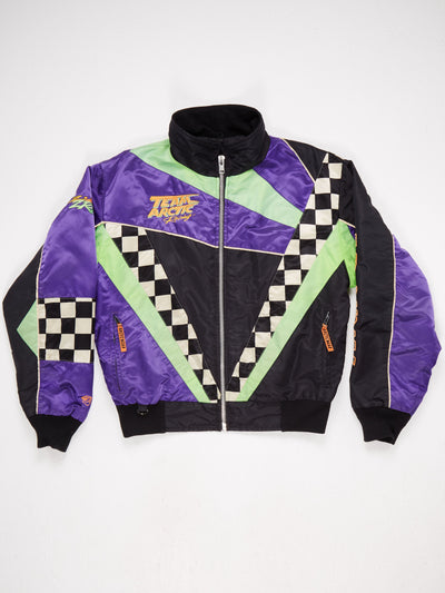 Team Arctic Nylon Racing Jacket with Patched Fabric and Emroidered Small Logo  Black / White / Purple / Green Size Medium