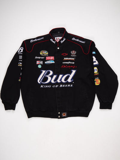 Budweiser Branded Cotton Racing Jacket with Multiple Patches  Black / Multi Size XXL